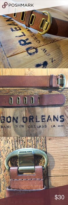 "Beat up belt 42"" long excluding buckle. Shows (I think the right amount of) wear. Please note couple of blemishes in images five holes, four with grommets one without Michael Kors Accessories Belts"