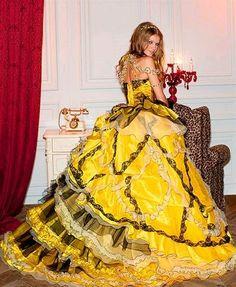 Wedding Dress Fantasy - Yellow Wedding Dress- Available in Every Color Yellow Wedding Dress, Wedding Dress Cake, Custom Wedding Dress, Modest Wedding Dresses, Colored Wedding Dresses, Yellow Dress, Wedding Gowns, Beautiful Costumes, Mellow Yellow