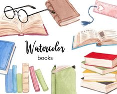 Pencil Clipart, Book Clip Art, Watercolor Books, Stack Of Books, Open Book, Cute Little Girls, Retro Vintage, Vintage Clip, Reading