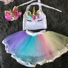 Unicorn birthday outfit / tutu set /Unicorn outfit/ unicorn birthday party / unicorn/ unicorn tutu / Unicorn Birthday Parties, 2nd Birthday, Party Unicorn, Unicorn Outfit, Bday Girl, First Birthdays, Baby, Crafts, Candy Sushi