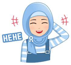 This hijab girl is beautiful, cute, nice, friendly and happy Emoji People, Muslim Greeting, Cute Girl Illustration, Dreamcatcher Wallpaper, Islamic Cartoon, Beauty In Art, Funny Emoji, Line Store, Cute Memes