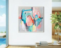 Grey abstract painting print, grey wall art, Giclee, fine art print, modern painting, pink, turquoise, abstract painting print, original art