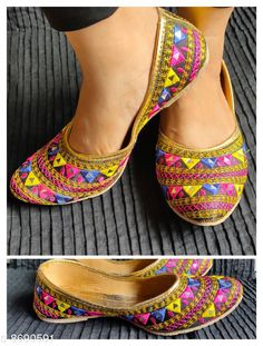 Juttis & Mojaris designer jaipuri jutti Material: Synthetic Sole Material: PVC Fastening & Back Detail: Closed back Pattern: Embellished Multipack: 1 Sizes:  IND-6 (Foot Length Size: 24.2 cm Foot Width Size: 10 cm)  Country of Origin: India Sizes Available: IND-8, IND-9, IND-4, IND-5, IND-6, IND-7   Catalog Rating: ★4 (463)  Catalog Name: Modern Graceful Women Jutis & Mojaris CatalogID_1480123 C75-SC1069 Code: 592-8690591-993