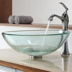 Kraus Glass Vessel Bathroom Sink with Single Handle Single Hole Faucet Sink Finish: Clear Black, Faucet Finish: Oil Rubbed Bronze Simple Bathroom Remodel, Affordable Bathroom Remodel, Contemporary Bathroom Sinks, Bathroom Sink, Faucet, Glass Bowl Sink, Sink, Glass Vessel Sinks, Glass Bowl