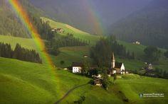 Arco iris - arco iris, casas, montanhas, natureza