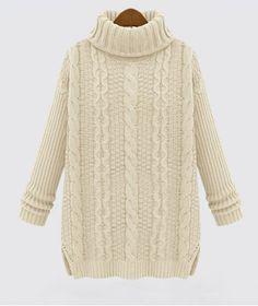 Casual Turtle Neck Hemp Flower Pattern Thicken Long Sleeve Women's Sweater