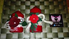 Candele con fiori feltro