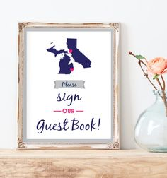 Sign Our Guest Book  Two State Guest Book by MissDesignBerryInc