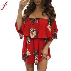 Fashion Floral Print Red Summer Dress Women 2017 Sexy Off Shoulder  Sleeveless Slim Slash neck Beach a6dd76eea48c