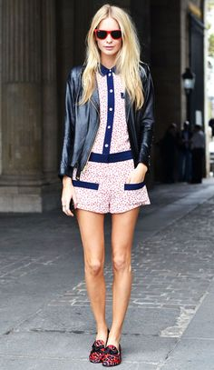 Playful prints are where it's at for spring. And this Parisian belle transforms a girly romper with leather and smoking slippers. Love it.