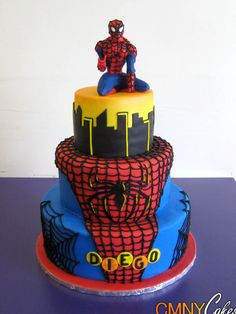 Spiderman on Roof Top Cake. Wish I could make this for Nick!