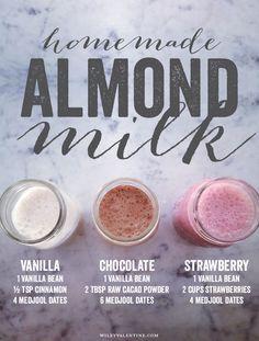 homemade flavored almond milk, no sugar