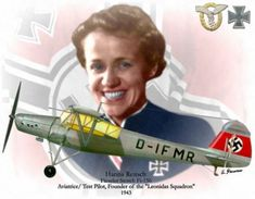 glaubeundschonheit: Hanna Reitsch was a German aviatrix, test pilot, and the only woman awarded the Iron Cross First Class and the Luftwaffe Pilot/Observer Badge in Gold with Diamonds during World War II. Ww2 Aircraft, Fighter Aircraft, Military Aircraft, Luftwaffe, Hanna Reitsch, Heroes And Generals, Photo Avion, Focke Wulf, German Soldiers Ww2