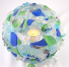 Beach Decor Sea Glass Vase or Candle Holder by beachgrasscottage, $39.00