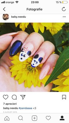 Manichiura - We Beauty Nailed It, Panda, Nails, Beauty, Finger Nails, Beleza, Ongles, Panda Bear, Nail