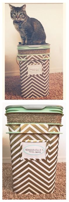 """Repurposed a Tidy Cats litter container into an """"all things cat"""" storage bin. Created with wrapping paper, modge podge, twine, and acrylic paint."""