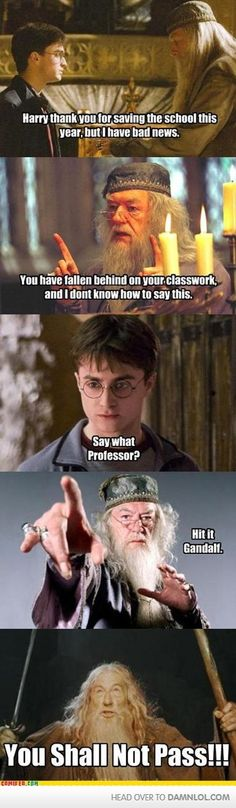 I laughed. Also, did you know there's a picture of Gandalf on the wall of Dumbledore's office in the HP films?