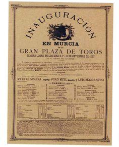 Cartel inaugural plaza toros murcia 1887. fuente Museo Huertano de Murcia