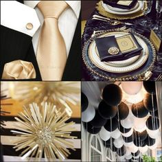 Black, white, gold and bubbly ~ the ultimate New Year's Eve Party and New Year's Eve Wedding combination!