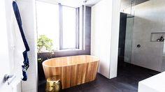Wooden bath tub, metallic stool, window plant, grey floor tiles, white wall tiles in ensuite Bathroom Kids, Laundry In Bathroom, Small Bathroom, The Block Australia, The Block Glasshouse, Wooden Bathtub, Beautiful Bathrooms, Modern Bathrooms, Dream Bathrooms