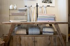 Handwoven mohair in pretty spring colors on display in our 51 Main Street, Nantucket shop. Wander upstairs where you can see the weavers in action, bringing these beautiful pieces to life in the weaving studio.