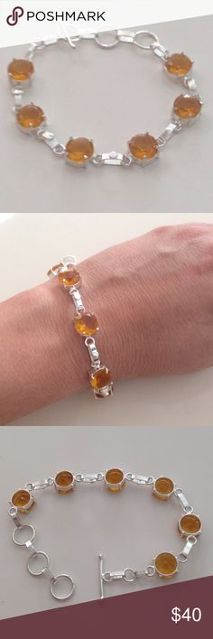 💯% 925 Sterling silver honey topaz bracelet 🌟 All hardware 💯% 925 Sterling silver w/6 round, faceted 💯% honey colored Topaz gem stone bracelet, toggle clasp closure that adjusts from 6.5 -8 inches. Hand made. NWOT 🌟sparkling beauty🌟🌟 Hand made Jewelry Bracelets