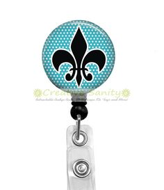 Retractable ID Badge Holder, Fleur de Lis Blue Background, Choice of Badge Reel, Carabiner, Lanyard, Steth ID Tag by CreativeSanity on Etsy