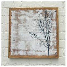 tree print on reclaimed wood #art