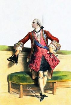 """Men's Fashion of the Rococo, Justaucorps """"habit à la française"""", with vest pants and Tricorne."""