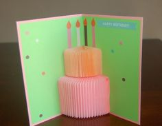 Pop-up birthday card with cake - Crafts Diy Happy Birthday Cards Handmade, Unique Birthday Cards, Homemade Birthday Cards, Funny Birthday Cards, Homemade Cards, Birthday Card Pop Up, Birthday Card Design, Birthday Diy, Cake Birthday
