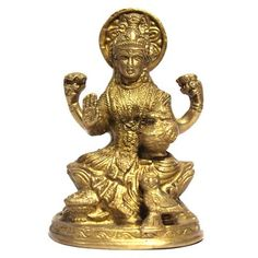 Laxmi with Four Hand, made of Brass,LXWXH ( In Inches): 3X2.5X5