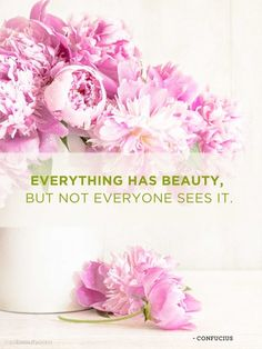 Everything has beauty, but not everyone sees it ~ Confucius