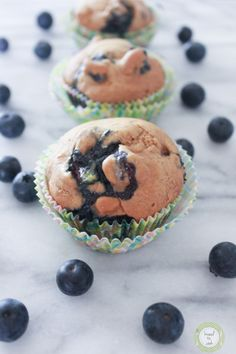 Blueberry coconut muffins.  {vegan}