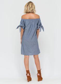 High Tied Off-Shoulder Chambray Dress GoJane.com