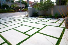 large concrete pavers driveway with grass - Google Search