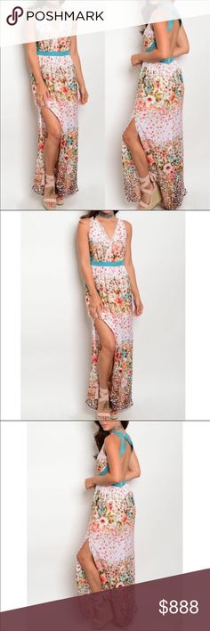 COMING SOON Floral Maxi Dress Beautiful White and Jade Falling Floral Maxi Dress; Cut Out Back; Material is 100% Polyester GlamVault Dresses Maxi