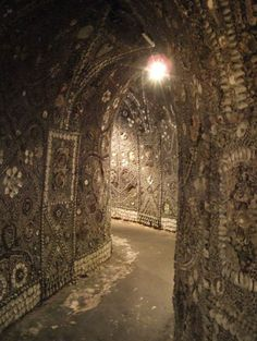 The Shell Grotto -- series of winding underground passages covered in shell mosaics leading to an oblong chamber, Margate, Kent (UK) -- discovered in 1835, its age and purpose remain unknown.