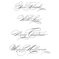 Hand-Penned Holidays Clear-Mount Stamp Set. 2011-2012 Holiday mini catalog. (C)#124312, (W)#124310
