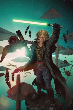 Star Wars: Legacy, the story of Cade Skywalker, direct descendant of Luke Skywalker who abandoned the Jedi Order to become a pirate and smuggler. A key pawn between the Jedi and Sith, will Cade choose the Light or Dark Side of the Force? A far more spiritually mature series than it has any right to be. Start with Star Wars: Legacy Vol. 1: Broken. (No longer canon since the new movies will establish a new timeline.)