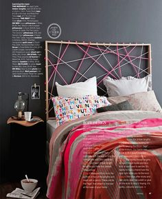 Easy & inexpensive DIY headboard idea | At Home in Love