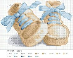 blue baby shoes cross stitch