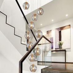 Chandelier In Living Room, Chandelier Ceiling Lights, Glass Chandelier, Modern Chandelier, Hanging Lights, Chandelier Staircase, Simple Chandelier, Large Pendant Lighting, Pendant Lights