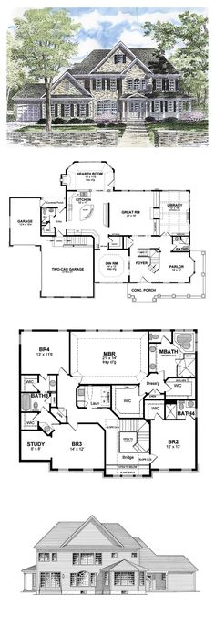 COOL House Plan ID: chp-44788 | Total Living Area: 3859 sq. ft., 4 bedrooms & 4.5 bathrooms. #houseplan #luxuryhome