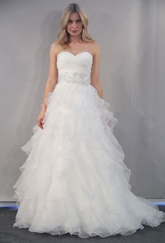 Wtoo Brides - Fall 2012 - Samina Strapless Organza A-Line Wedding Dress with Ruffle Skirt and Sweetheart Neckline |