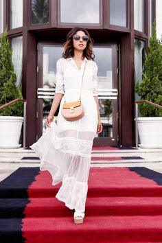 sheer dress with satchel bag