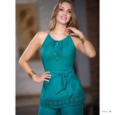 Ref. 352339 Body en seda· Color: Petroleo ·Tallas: XS-S-M-L · $89.990  Ref. 434705 Pantalón en crepe stretch (incluye forr... Blouse Styles, Rompers, Shirts, Dresses, Fashion, Models, Medicine, Linen Dresses, Fashion Blouses