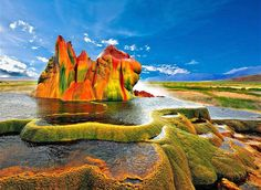 Fly Geyser, Nevada: in the Black Rock Desert. Thermophilic algae give the geyser its brilliant colors. Fly Geyser Nevada, Places To Travel, Places To See, Places Around The World, Around The Worlds, Black Rock Desert, Voyager Loin, Famous Places, Photos Du