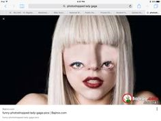 This artist is Lady Gaga    Poker Face https://youtu.be/5GoPHjLLrLs They might have done that because it makes people interested in her music. I find it creepy and funny. They dragged her eyes down to the bottom of her face. I am not sure what tools were used to make this picture.  I like that the picture is silly because I know Lady Gaga doesn't look like that. I find it creepy because her eyes are at the bottom of her face. It is yucky, but interesting.