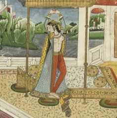 Indian miniature Vintage India, Vintage Art, Indian Illustration, Mughal Empire, Goddess Art, Indian Paintings, Beauty Art, Indian Art, Erotic Art