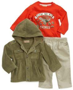 Kids Headquarters, Baby Set, Baby Boys, 3 Piece, Military Jacket, Raincoat, Pants, Jackets, Shirts